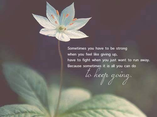 Sometimes you have to be strong when you feel like giving up